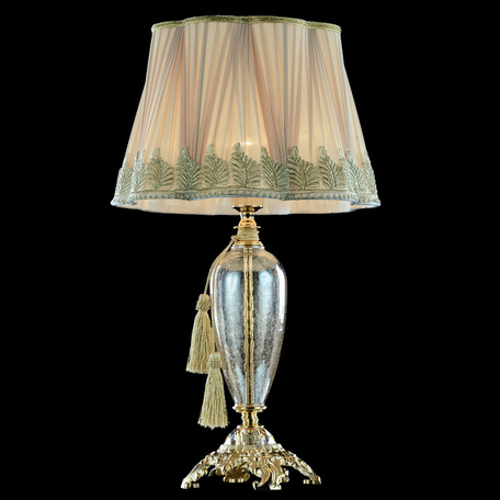 Настольная лампа Divinare Simona 5125/07 TL-1, 1xE27x40W, золото, янтарь, бежевый, стекло, текстиль