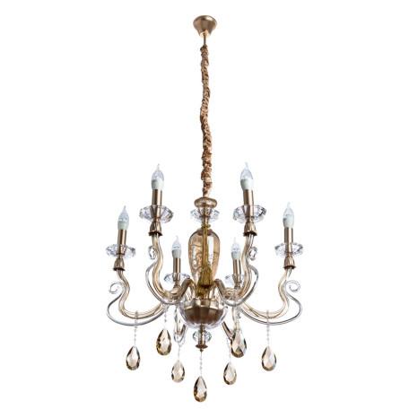 Подвесная люстра Divinare Carl 5124/07 LM-6, 6xE14x40W, матовое золото, янтарь, хрусталь