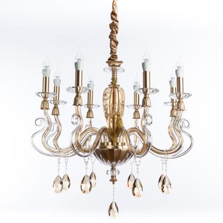 Подвесная люстра Divinare Carl 5124/07 LM-8, 8xE14x40W, матовое золото, янтарь, хрусталь