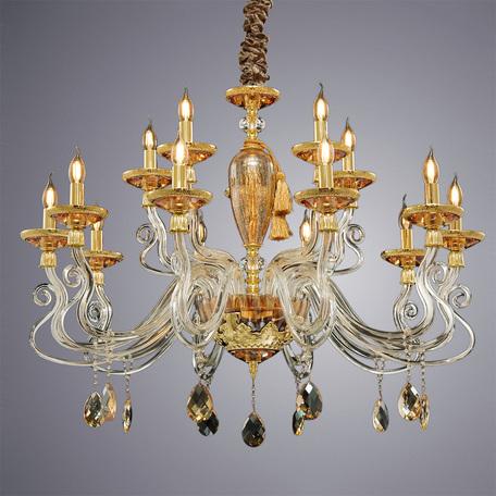 Подвесная люстра Divinare Simona 5125/07 LM-15, 15xE14x40W, золото, прозрачный, янтарь, хрусталь, текстиль