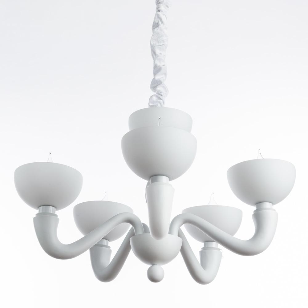 Подвесная люстра Divinare Bianca-Nero 7091/01 LM-5, 5xE14x40W, белый, металл, пластик, стекло - фото 1
