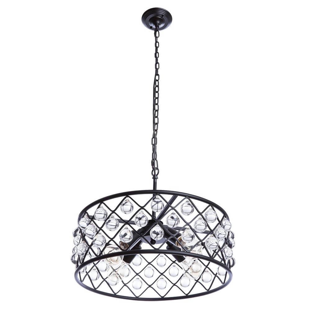 Подвесная люстра Divinare Brava 8203/01 SP-4, 4xE27x40W, черный, металл, металл с хрусталем - фото 1