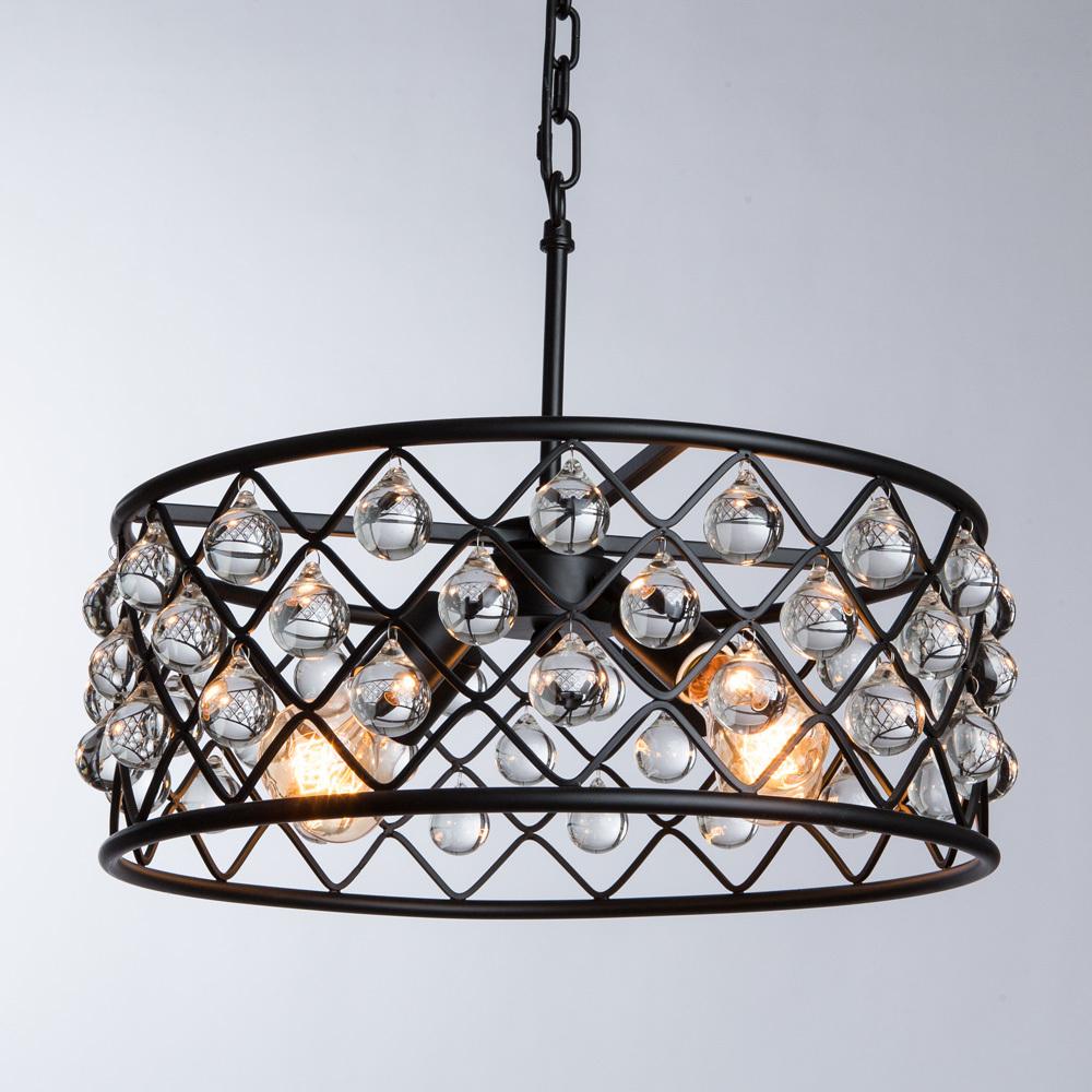 Подвесная люстра Divinare Brava 8203/01 SP-4, 4xE27x40W, черный, металл, металл с хрусталем - фото 2