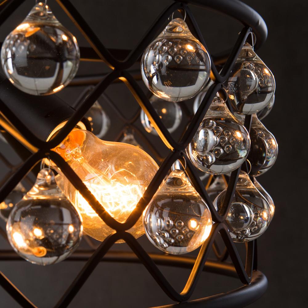 Подвесная люстра Divinare Brava 8203/01 SP-4, 4xE27x40W, черный, металл, металл с хрусталем - фото 4