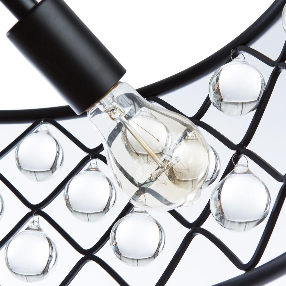 Подвесная люстра Divinare Brava 8203/01 SP-4, 4xE27x40W, черный, металл, металл с хрусталем - фото 5
