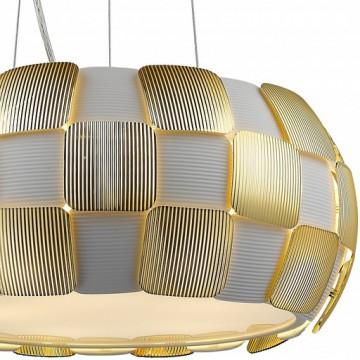 Подвесной светильник Divinare Beata 1317/13 SP-5, 5xE27x24W, белый, матовое золото, металл, пластик - миниатюра 2