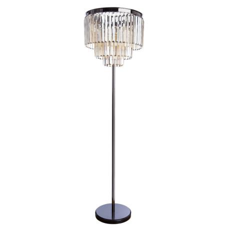 Торшер Divinare Nova Cognac 3002/06 PN-6, 6xE14x40W, черный хром, коньячный, металл, хрусталь