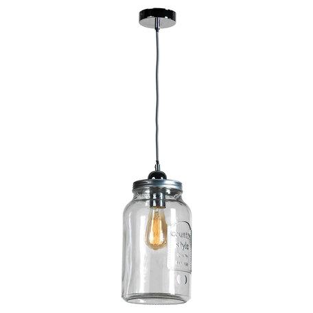 Подвесной светильник Lussole Loft Northport LSP-9523, IP21, 1xE27x40W, никель, прозрачный, металл, стекло