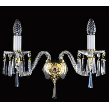 Бра Artglass NIKITA II. CE, 2xE14x40W, белый, золото, прозрачный, стекло, хрусталь Artglass Crystal Exclusive