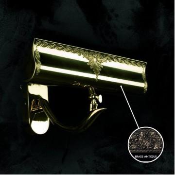 Настенный светильник для подсветки картин Artglass NOEMI II. BRASS ANTIQUE, 2xE14x40W, бронза, металл