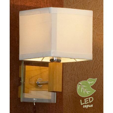 Бра Lussole Montone GRLSF-2501-01, IP21, 1xE14x6W, коричневый, белый, металл со стеклом, дерево, текстиль