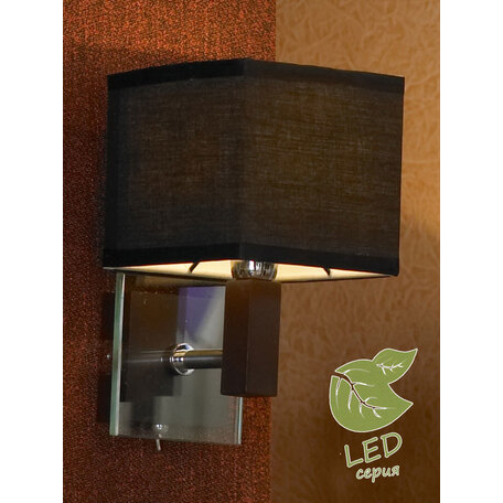 Бра Lussole Montone GRLSF-2571-01, IP21, 1xE14x6W, венге, черный, металл со стеклом, дерево, текстиль