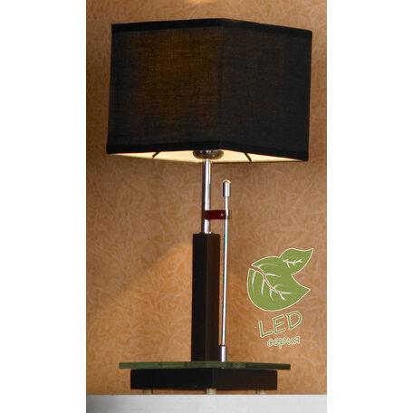 Настольная лампа Lussole Montone GRLSF-2574-01, IP21, 1xE27x10W, венге, черный, металл со стеклом, дерево, текстиль