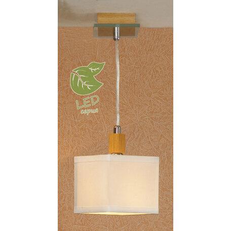 Подвесной светильник Lussole Montone GRLSF-2506-01, IP21, 1xE14x6W, коричневый, белый, металл со стеклом, дерево, текстиль