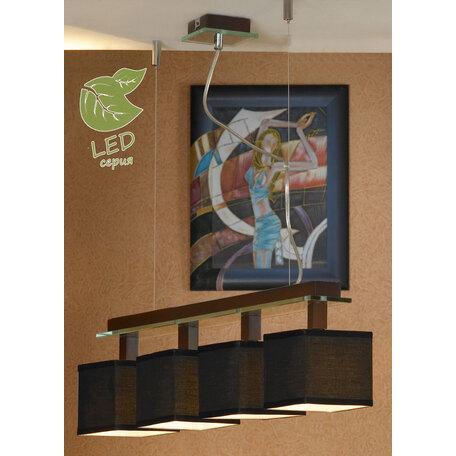 Подвесной светильник Lussole Montone GRLSF-2573-04, IP21, 4xE14x6W, венге, черный, металл со стеклом, дерево, текстиль