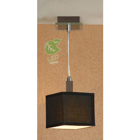 Подвесной светильник Lussole Montone GRLSF-2576-01, IP21, 1xE14x6W, венге, черный, металл со стеклом, дерево, текстиль