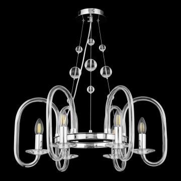 Подвесная люстра Maytoni Taro MOD026PL-06CH, 6xE14x60W, хром, прозрачный, стекло