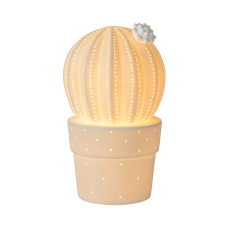 Настольная лампа-ночник Lucide Cactus 13524/01/31, 1xE14x25W, белый, керамика