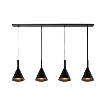 Подвесной светильник Lucide Gipsy 35410/04/30, 4xE27x25W, черный, металл, бетон