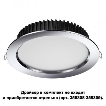 Встраиваемая светодиодная панель Novotech Spot Drum 358305, IP44, LED 20W 3000K 1500lm, хром, металл с пластиком