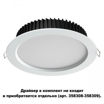 Встраиваемая светодиодная панель Novotech Spot Drum 358306, IP44, LED 20W 4000K 1500lm, белый, металл с пластиком