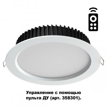 Встраиваемая светодиодная панель с пультом ДУ Novotech Spot Drum 358310, IP44, LED 20W 3000-6500K 1500lm, белый, металл с пластиком