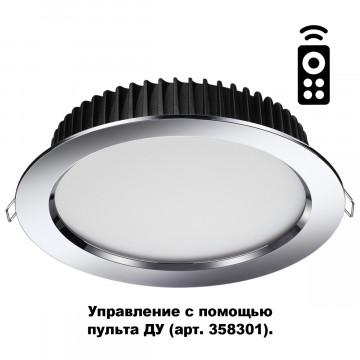 Встраиваемая светодиодная панель с пультом ДУ Novotech Spot Drum 358311, IP44, LED 20W 3000-6500K 1500lm, хром, металл с пластиком