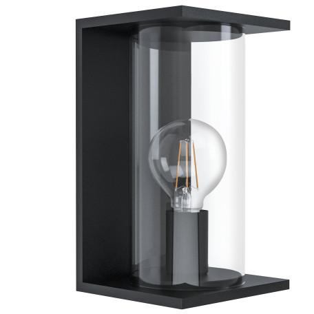 Настенный светильник Eglo Cascinetta 98713, IP54, 1xE27x40W, черный, прозрачный, металл, стекло