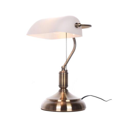 Настольная лампа Lumina Deco Banker LDT 305 WT, 1xE27x40W, белый, стекло