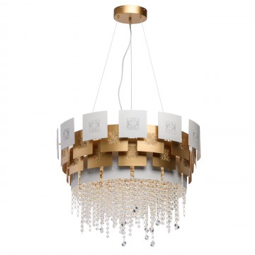 Подвесная люстра Chiaro Кармен 394010808, матовое золото, белый, прозрачный, металл, хрусталь