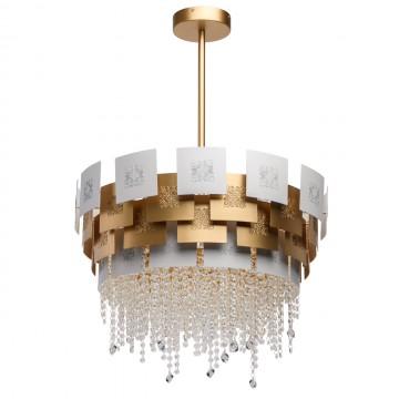 Подвесная люстра Chiaro Кармен 394011006, матовое золото, белый, прозрачный, металл, хрусталь