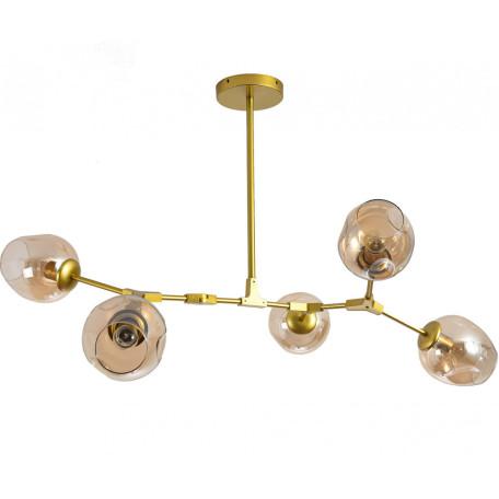 Люстра на составной штанге Kink Light Нисса 07512-5,33, 5xE27x40W, золото, янтарь, металл, стекло