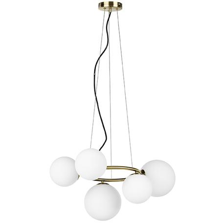 Подвесная люстра Lightstar Globo 815051, 5xG9x40W, матовое золото, белый, металл, стекло