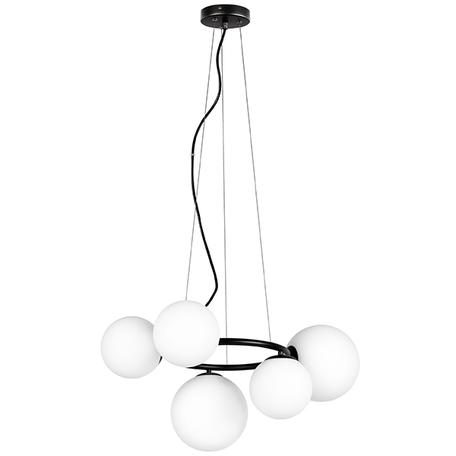 Подвесная люстра Lightstar Globo 815057, 5xG9x40W, черный, белый, металл, стекло