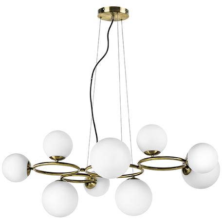 Подвесная люстра Lightstar Globo 815091, 9xG9x40W, матовое золото, белый, металл, стекло