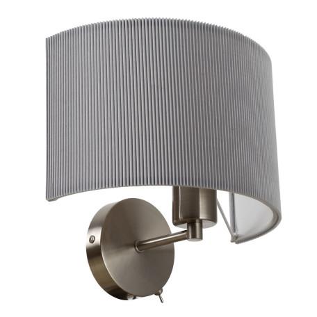 Бра Arte Lamp Mallorca A1021AP-1SS, 1xE27x40W, никель, серый, металл, текстиль