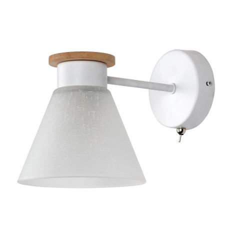 Бра Arte Lamp Tyler A1031AP-1WH, 1xE14x60W, белый, коричневый, металл, дерево, стекло