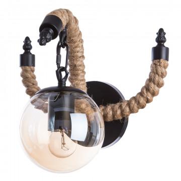 Бра Divinare Gina 8055/01 AP-1, 1xE27x40W, бежевый, черный, коньячный, канат, металл, стекло