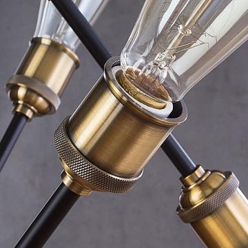 Люстра на телескопической штанге Divinare Formica 3037/03 SP-8, 8xE27x40W, черный, металл - миниатюра 5