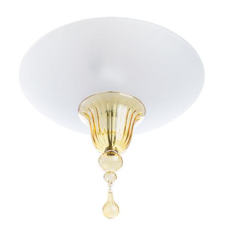 Потолочный светильник Divinare Goccia 4002/01 PL-2, 2xE14x60W, хром, белый, янтарь, металл, стекло