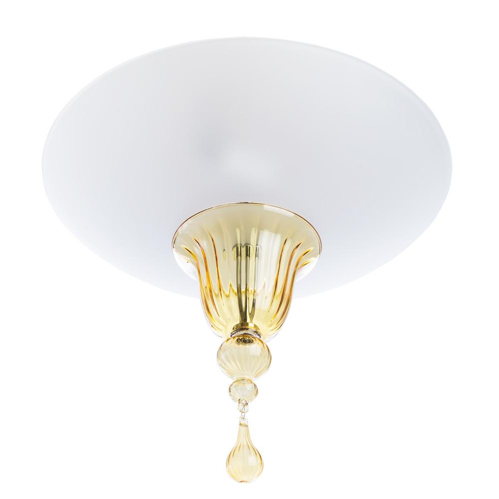Потолочный светильник Divinare Goccia 4002/01 PL-2, 2xE14x60W, хром, белый, янтарь, металл, стекло - фото 1