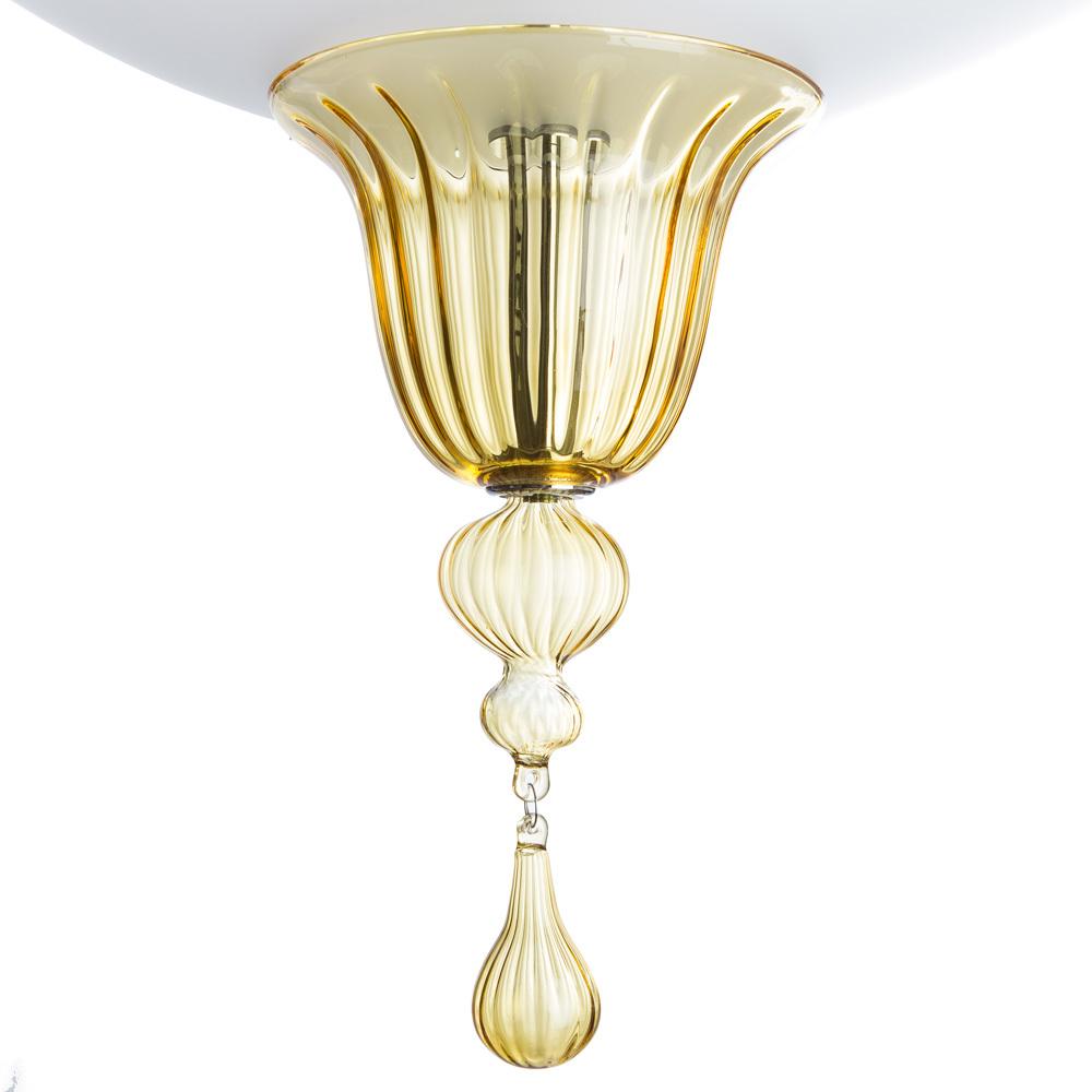 Потолочный светильник Divinare Goccia 4002/01 PL-2, 2xE14x60W, хром, белый, янтарь, металл, стекло - фото 4