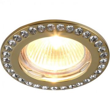 Встраиваемый светильник Divinare Gianetta 1405/01 PL-1, 1xGU5.3x50W, золото, прозрачный, металл, хрусталь