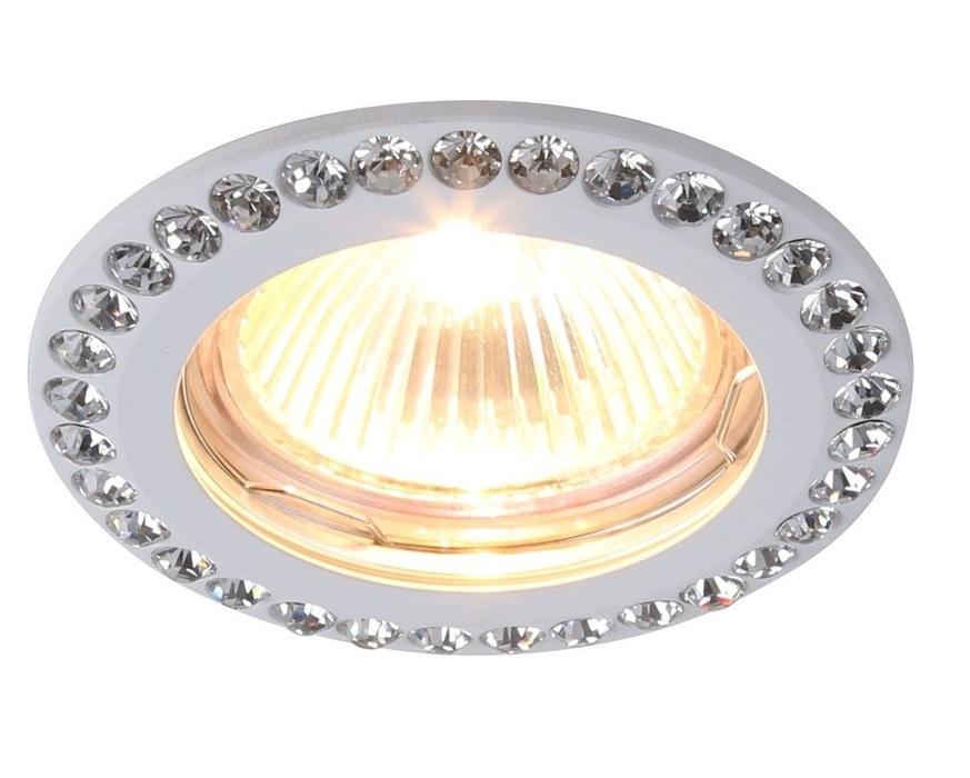Встраиваемый светильник Divinare Gianetta 1405/03 PL-1, 1xGU5.3x50W, белый, прозрачный, металл, хрусталь - фото 1