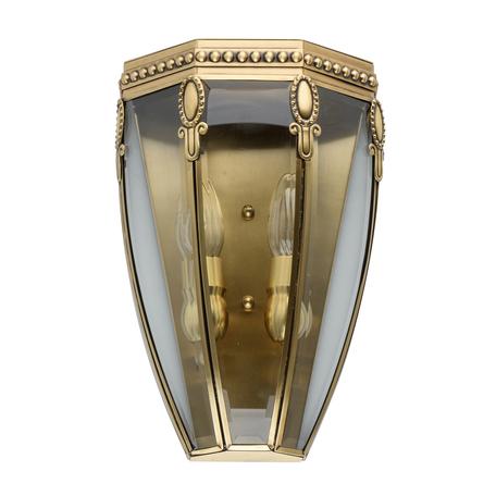 Настенный светильник Chiaro Мидос 802021602, IP44, 2xE14x40W, золото, прозрачный, металл, стекло