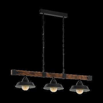 Подвесной светильник Eglo Trend & Vintage Industrial Oldbury 49685, 3xE27x60W, коричневый, черный, дерево, металл