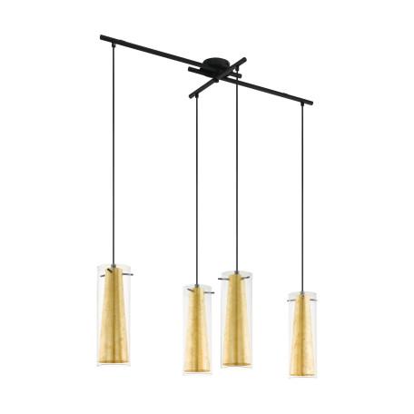 Подвесной светильник Eglo Pinto Gold 97653, 4xE27x60W, черный, матовое золото, прозрачный, металл, стекло