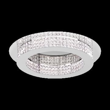 Потолочная светодиодная люстра Eglo Principe 39402, LED 44,8W, хром, прозрачный, металл, хрусталь