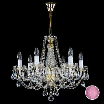 Подвесная люстра Artglass RADKA VI. - 1001, 6xE14x40W, золото с прозрачным и белым, прозрачный с золотом и белым, розовый, стекло