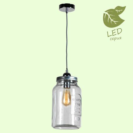 Подвесной светильник Lussole Loft Northport GRLSP-9523, IP21, 1xE27x10W, хром, прозрачный, металл, стекло